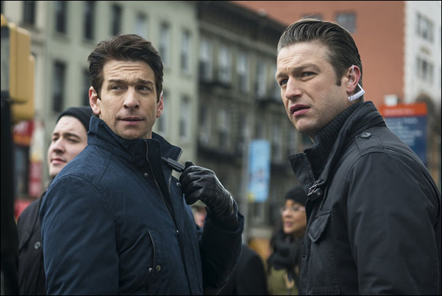 """Andy Karl as Sgt. Mike Dodds and Peter Scanavino as Dominick """"Sonny"""" Carisi"""