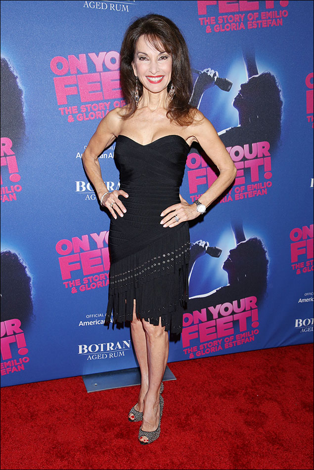 """Susan Lucci, looking sleek, sexy and right on trend with her embellished fringe on the bias. I'd love to see how that little black dress """"Danced The Night Away""""!"""