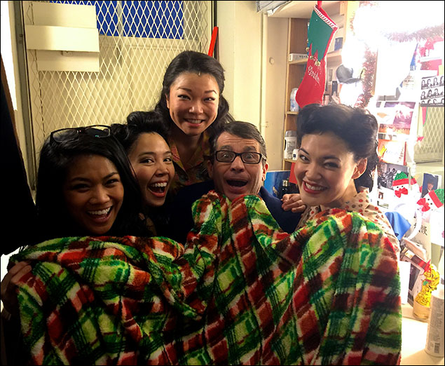 The girls enjoying Scott's Christmas blanket after his station was Christmas bombed!