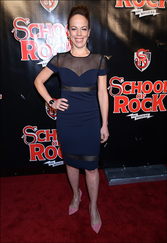 Leslie Kritzer in her cobalt dress with sheer overlays was stunning! Just enough cool edge for an evening of rock and then those pink heels to make it fun!