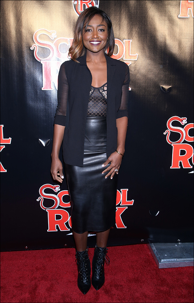Patina Miller was sexy-slinky in a midnight coat with sheer sleeves over her embellished bustier and leather skirt! Loved the length and those lace-up booties! YES!