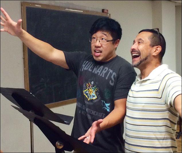 Raymond J. Lee and Herman Sebek rehearse The Producers