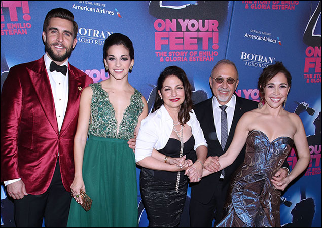 Josh Segarra, Ana Villafañe, Gloria Estefan, Emilio Estefan and Andrea Burns