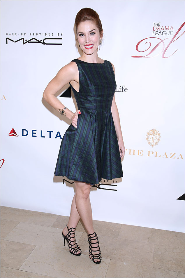 """Mara Davi featured a satin salute to black-watch! With cute little concealed pockets to slip her hands into and those """"cagey"""" sandals, she was another breath of fresh air on a Fall night!"""