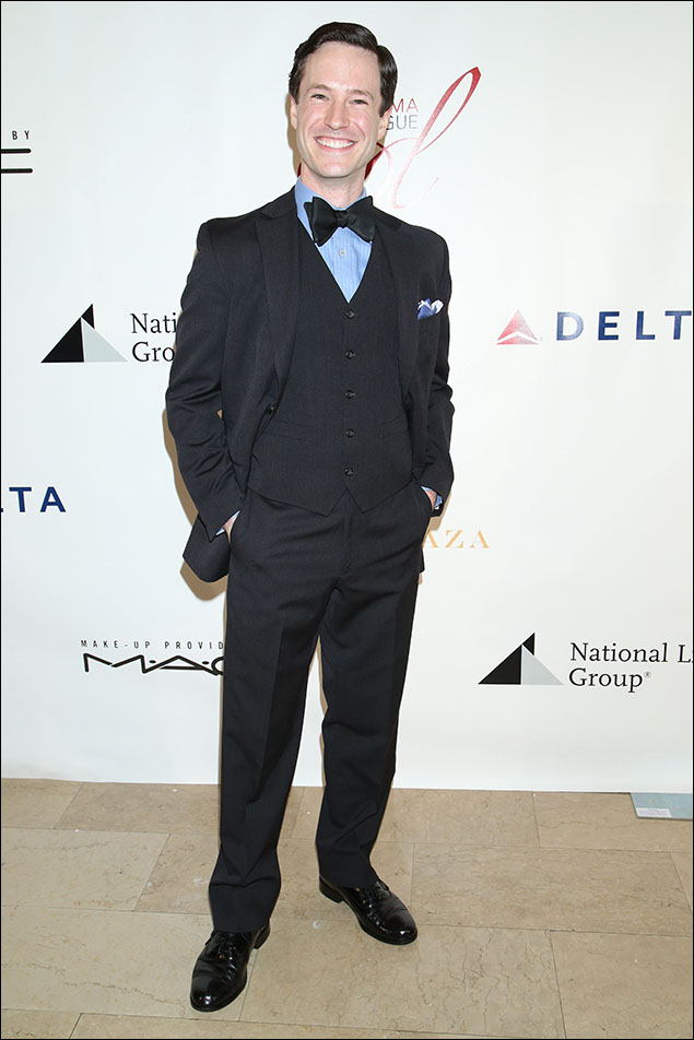 """Cary Tedder wore his tux with a little more """"oomph"""" featuring a baby-blue shirt, five-button vest and that very bold-bow-tie! It was a night of tuxes on most of the men, but Cary's had that extra pizzaz that matched his own natural pizzaz! And the pocket square? A+!"""