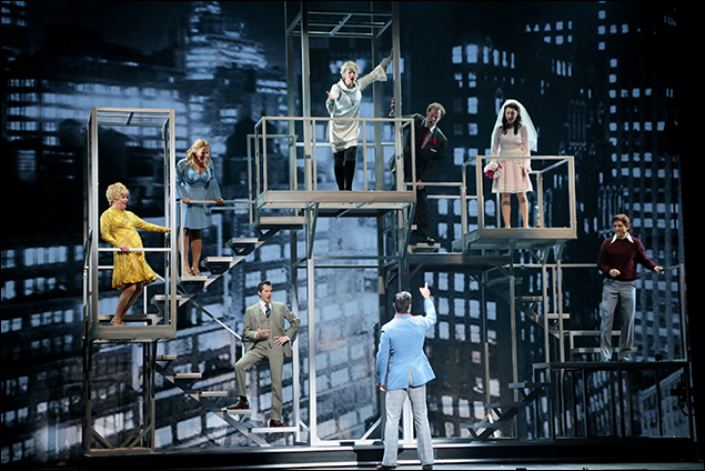 "Ramin Karimloo (center) with Josh Grisetti, Nancy Opel, Mariand Torres, Emily Skinner, Shuler Henlsey, Kaley Ann Voorhees and Tony Yazbeck performing ""Company"""