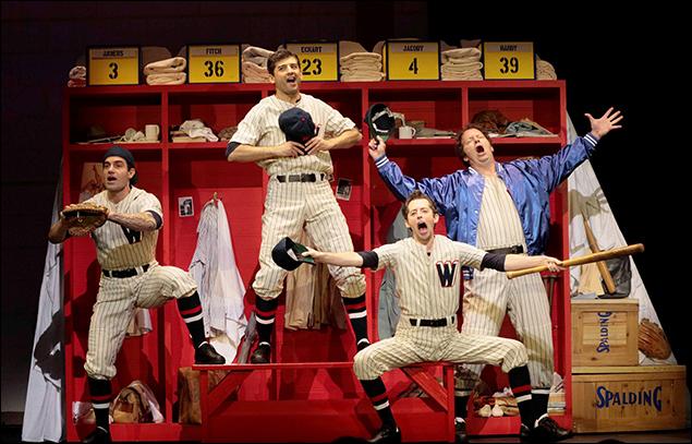 "Ramin Karimloo, Tony Yazbeck, Josh Grisetti and Shuler Hensley perform ""Heart"" from Damn Yankees"