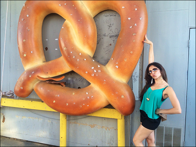 """""""Where's Gabrielle?"""" """"Oh, she's hanging out with The Pretzel again."""" The Pretzel is a landmark on the set of """"Crazy Ex-Girlfriend."""""""