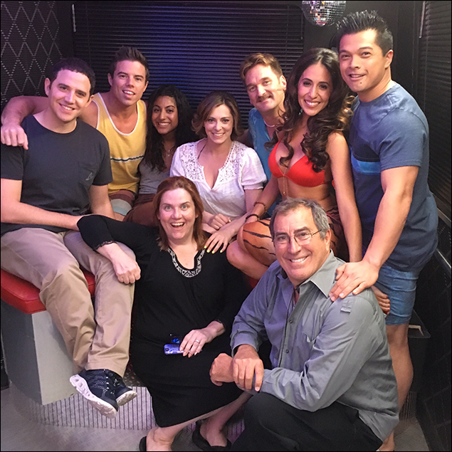 "We're all on set! At the same time!! ""Crazy Ex-Girlfriend"" cast posing for a quick photo with the legendary Kenny Ortega, director of Episode 109. No big deal, right??"
