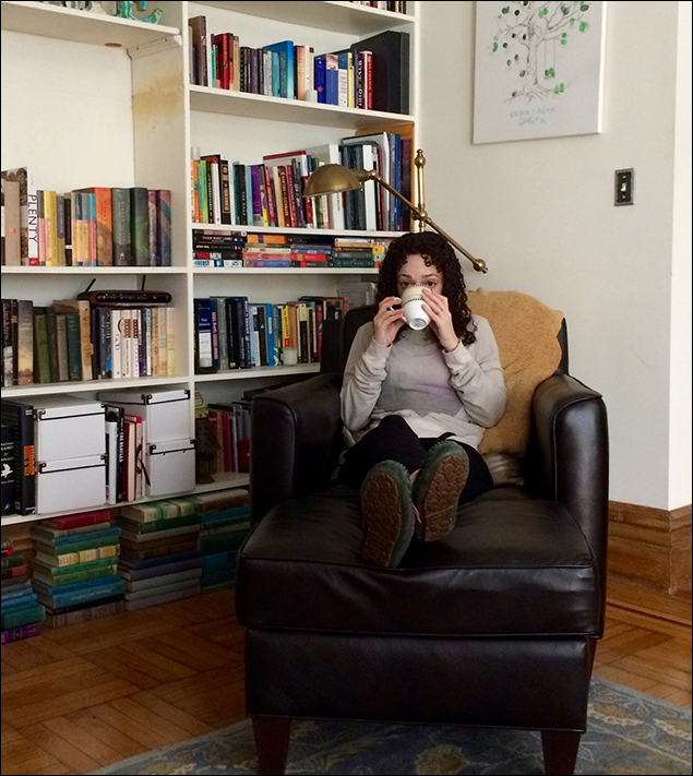 My favorite place to sit in the morning. Perfect leather armchair, many books, delicious coffee in hand.