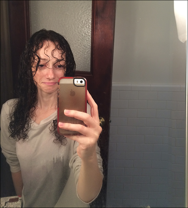 One of the cons of not wearing a wig in the show - I have to wash my hair every other day, otherwise my curls don't look so great. And they don't look so great when I get out of the shower, either!