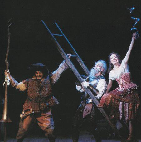 Tony Taylor, Anthony Warlow and Caroline O'Connor in an Australian staging of Man of La Mancha