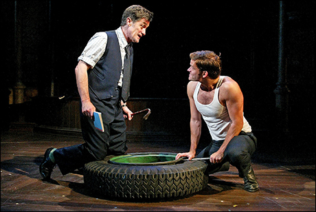 Steven Pasquale with Roger Rees in A Man of No Importance at the Mitzi E. Newhouse Theater