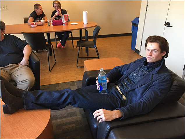 Don Best (played by Adam O'Byrne) takes a load off in the green room.