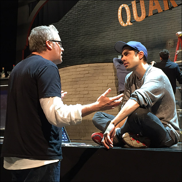 Playwright Rolin Jones giving Damon Daunno some notes.