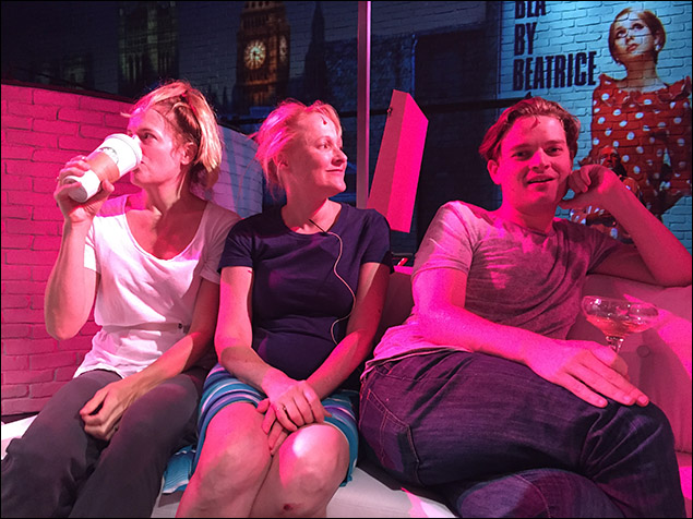 In tech rehearsal the day before opening with Keira Naughton, Kate Blumberg, and Chris Geary.
