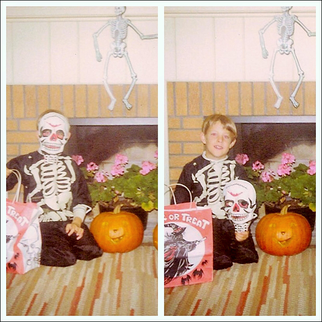 """John Bolton (Dames at Sea) I loved Halloween.Here's me at age nine.The photo in front of the fireplace was a yearly event at our house, and mom always insisted we do one with the mask and one without """"so we'll know who it is.""""I was the only child in the house."""