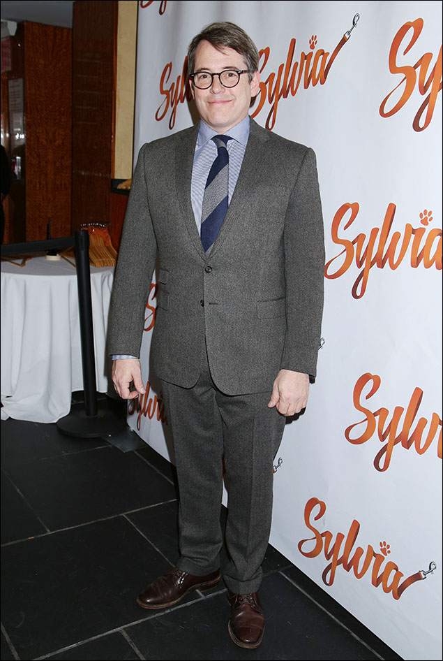 Matthew Broderick, giving us 50 shades of grey with a little blue accent on the shirt and the tie. A perfect partner for his SJP.