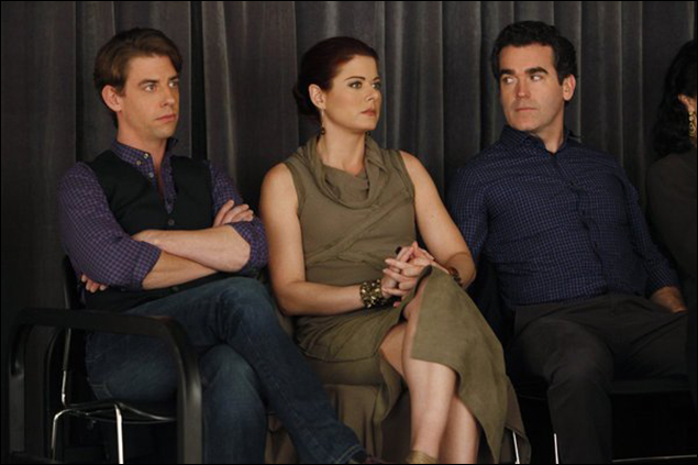 "Christian Borle, Debra Messing and Brian d'Arcy James in ""Smash"""
