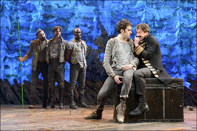 Matt D'Amico, Rick Holmes, Isaiah Johnson, Adam Chanler-Berat and Christian Borle in Peter and the Starcatcher