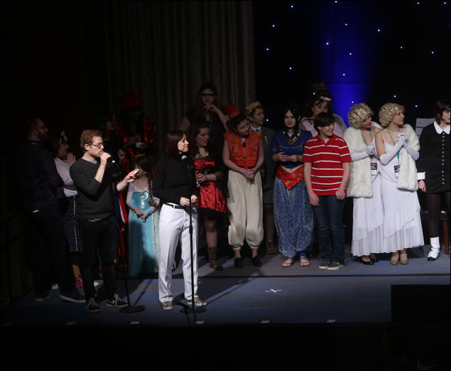 Anthony Rapp and Paige Davis at the Variety Hour, which included a fan fashion show