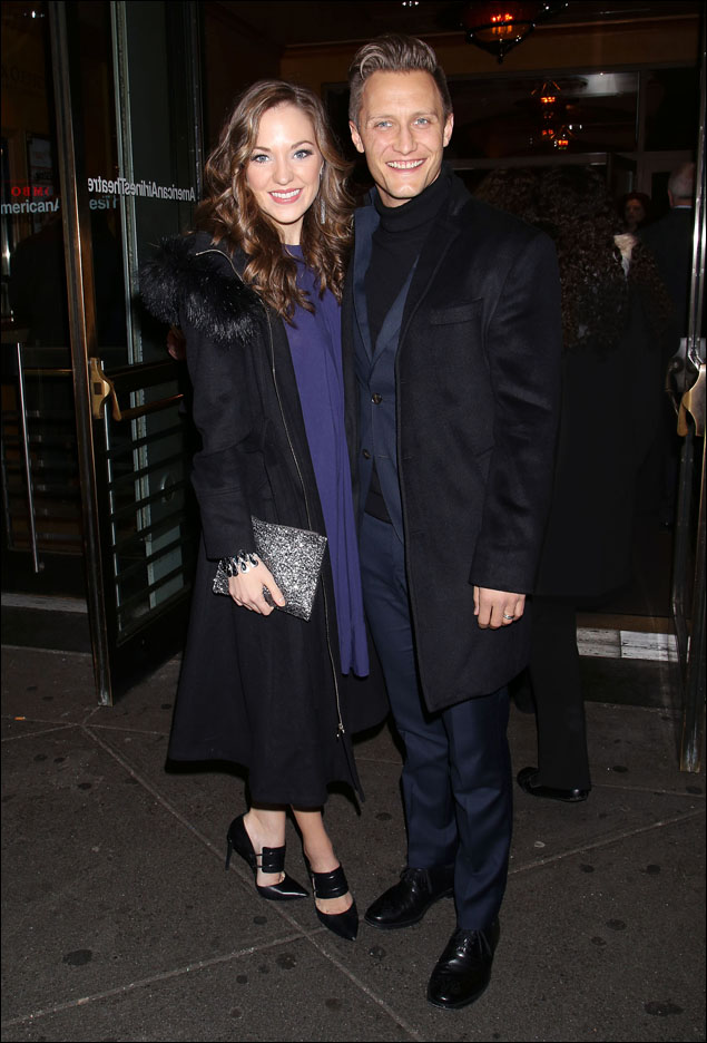 Even all bundled up, Laura Osnes and husband Nathan Johnson looked stylish as they came down the red carpet. The right fit and silhouette on great outerwear can make all the difference between looking like a star and looking like the Peanuts characters shopping for a Christmas tree! Thank you, Laura and Nathan for showing us how it's done!