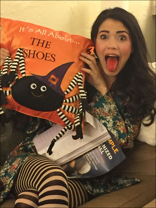 Arielle's socks match everything Halloween!