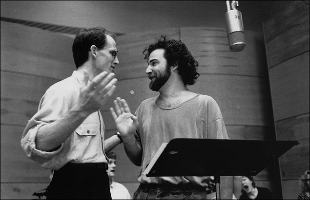 Robert Westenberg and Mandy Patinkin in the recording studio