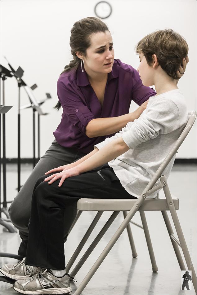 Lauren Worsham and Jonah Halperin in rehearsals for Lift