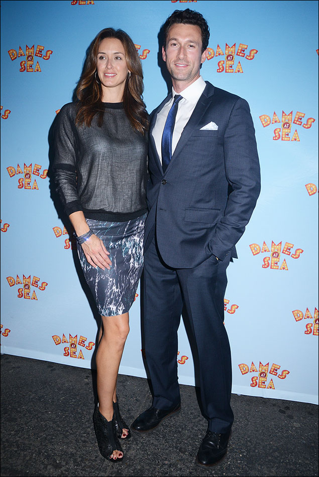 """LeAnn and Aaron Lazar, the true meaning of """"The Cool Couple""""! Fabulous translucent mesh top with edgy pencil skirt and major footwear on her! A classic fitted suit with a pop of blue tie on him! Her bracelet! His pocket square! A+ on the details."""