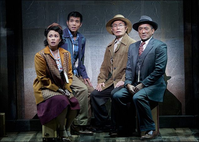 Lea Salonga, Telly Leung, George Takei and Paul Nakauchi  in Allegiance at the Old Globe
