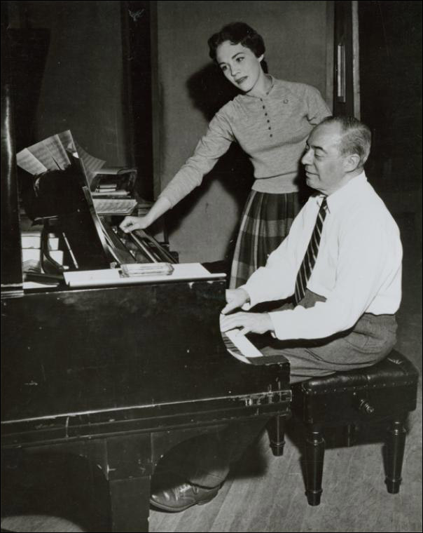 "Julie Andrews and Richard Rodgers rehearsing for ""Cinderella"" TV movie"