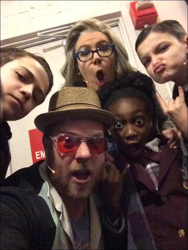 Dante Melucci, Natalie Charle Ellis, Shahadi Wright Joseph, Luca Padovan, and the guy in the middle, who, despite his appearance, is NOT Smash Mouth lead singer Steve Harwell.