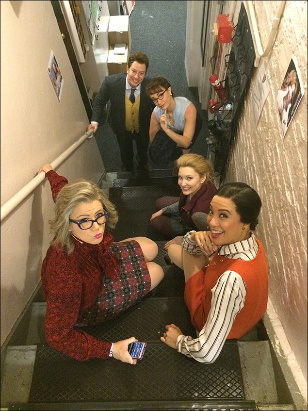 Tally Sessions, Sierra Boggess, Cassie Okenka, Jaygee Macapugay, and Natalie Charle Ellis pose on the staircase we all run up and down approximately 400 times per show.