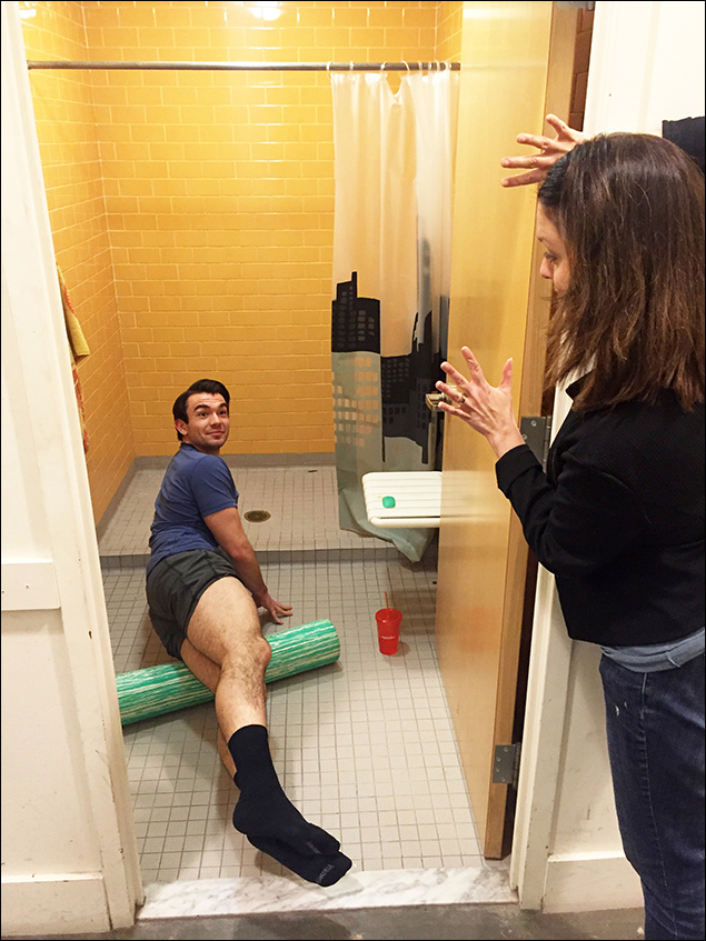My warmup spot is in the private shower. Our amazing stage manager, Kerry, knows where to find me.