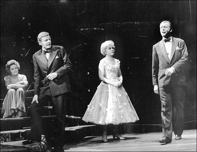 Alexis Smith, John McMartin, Dorothy Collins and Gene Nelson in the Broadway musical Follies, 1971