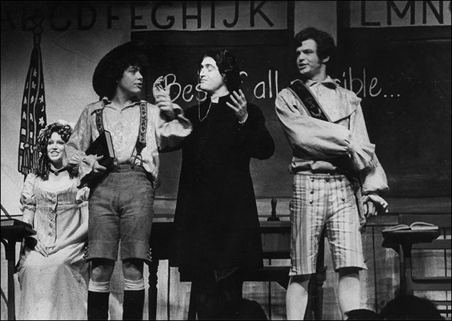Deborah Darr, Mark Baker, Lewis J. Stadlen and Sam Freed in the Broadway musical Candide, 1974