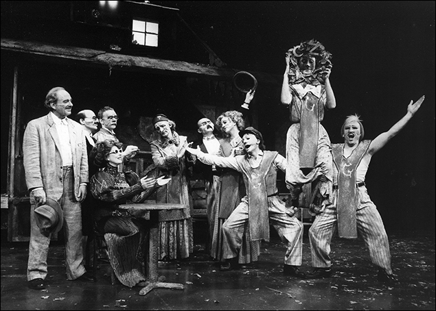 Harris Yulin and Jane Alexander and the company in the Broadway play The Visit, 1973