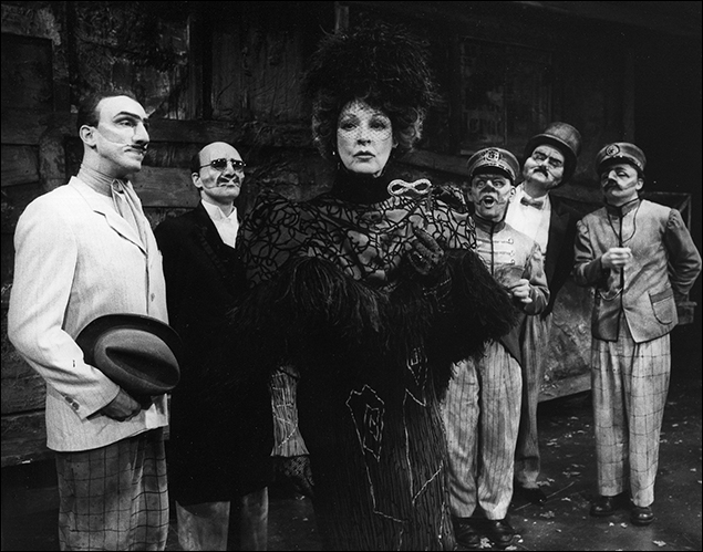 Jane Alexander and the company in the Broadway play The Visit, 1973
