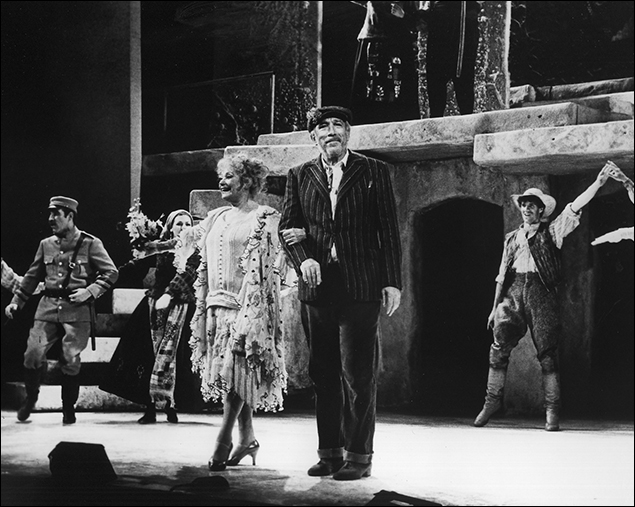 Anthony Quinn, Lila Kedrova and the company in the Broadway musical Zorba, 1968