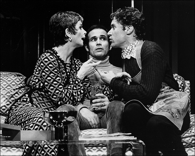 Larry Kert, Barbara Barrie and Charles Kimbrough in the Broadway musical Company, 1970