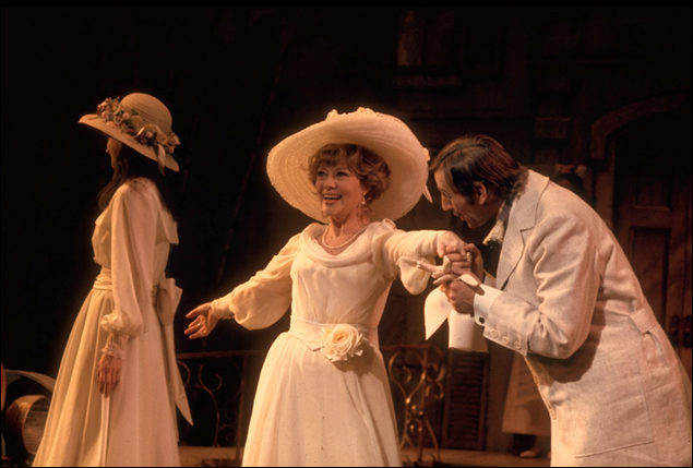 Judy Kahan, Glynis Johns and Len Cariou in the Broadway musical A Little Night Music, 1973