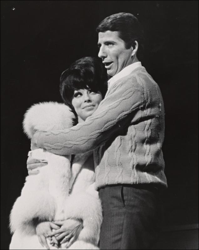 Bert Convy and Jill Haworth in the Broadway musical Cabaret, 1966