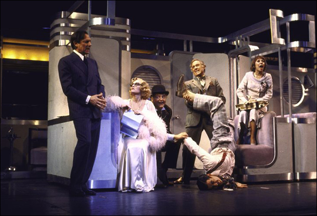 John Cullum, Madeline Kahn, Dean Dittman, George Coe, Kevin Kline and Imogene Coca in the Broadway musical On the Twentieth Century, 1978