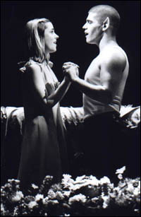 Deven May and Kerry Butler in Bat Boy at The Union Square Theatre