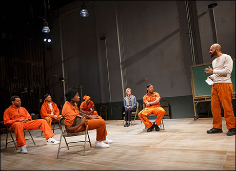 Derrick Baskin, Ryan Quinn, Donald Webber, Jr., Daniel J. Watts, Sherie Rene Scott, Chris Myers and Nicholas Christopher in Whorl Inside a Loop