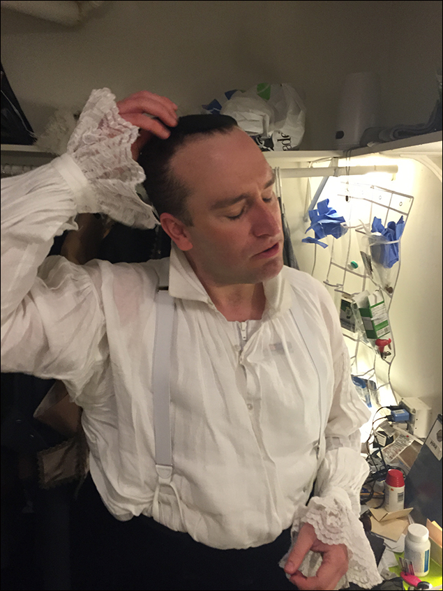 At the end of a long two-show day here at The Nederlander, it's time to pull off that wig cap and head home… or to the bar. – with Chris Hoch.  For more fun pics and videos follow me on twitter @stanleybahorek  Come see Amazing Grace at the Nederlander Theatre on 41st Street. #bye
