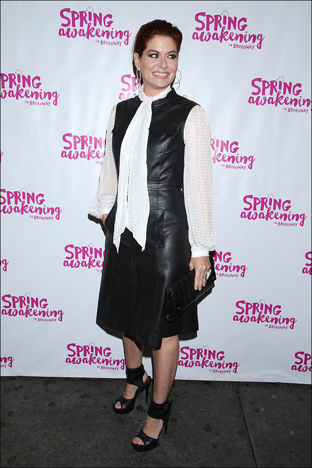 Debra Messing was right on trend with her Boho chic leather dress and stilettos.