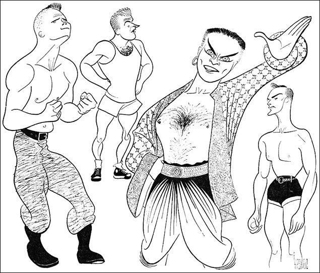 Some Brawny Specimens On The Broadway Stages, 1953  (From L To R) Ralph Meeker in Picnic; Jordan Bentley in Wonderful Town; Alfred Drake in King and I; and Jack Cassidy in Wish You Were Here In the summer of 1952, Yul Brynner took a vacation and another Oklahoma! veteran, Alfred Drake took over the role of the King. Hirschfeld brought together all the hunks on Broadway for this drawing.