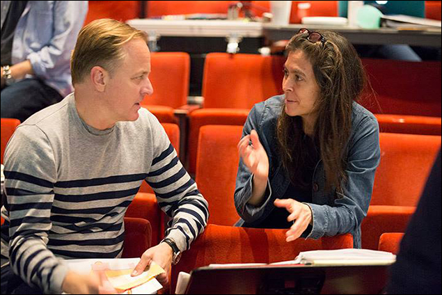 Set designer Scott Pask, left, confers with director Diane Paulus